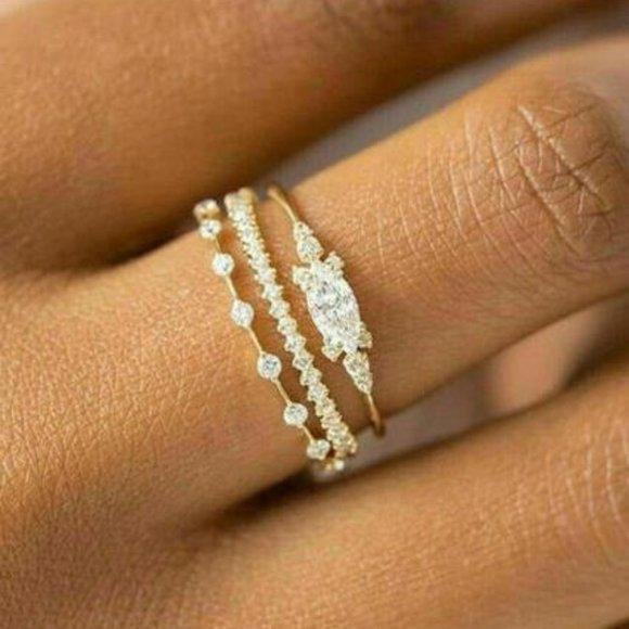 Fashion Women Rings White Sapphire Wedding Ring Jewelry